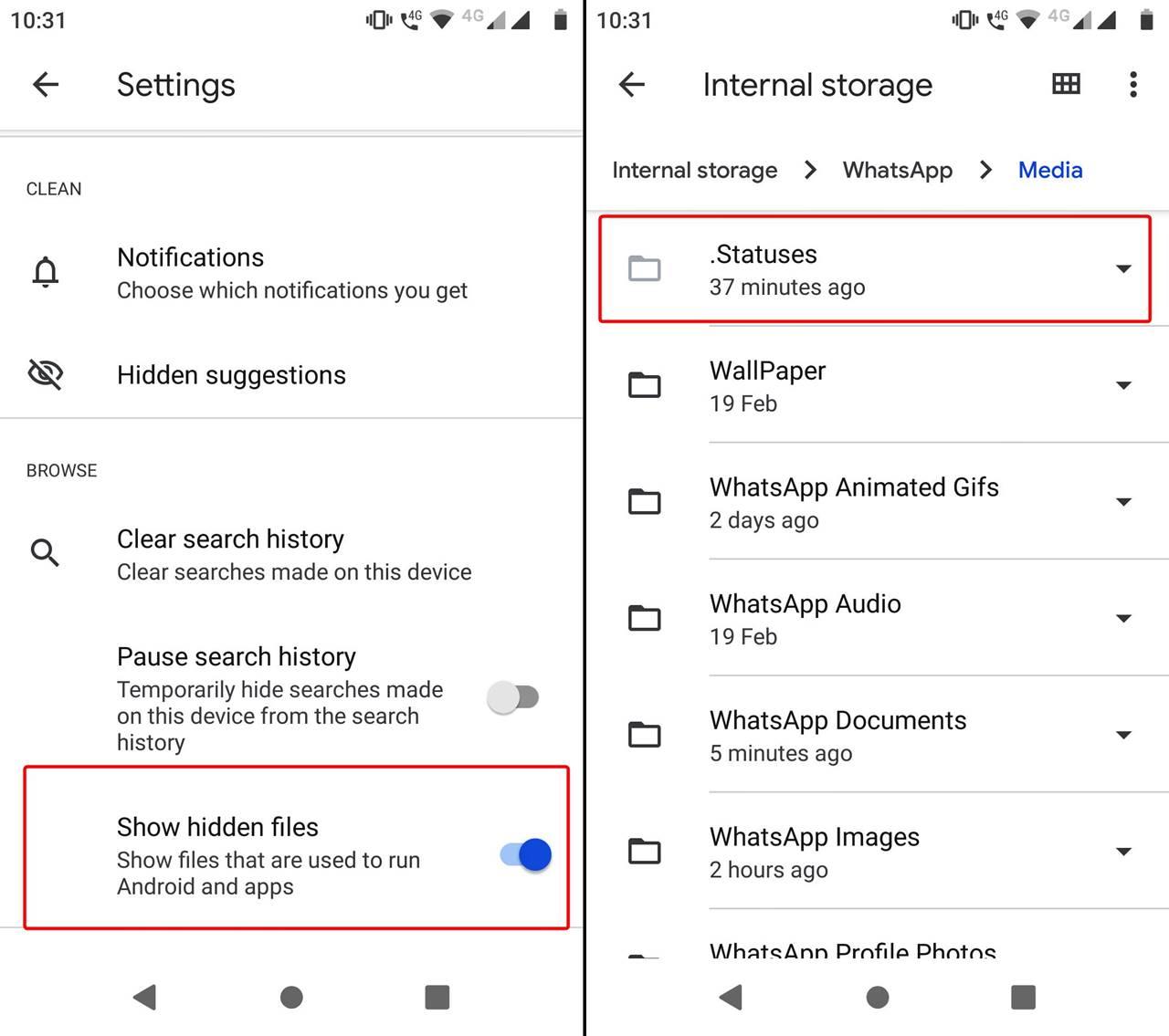 Download WhatsApp Status using Google Files